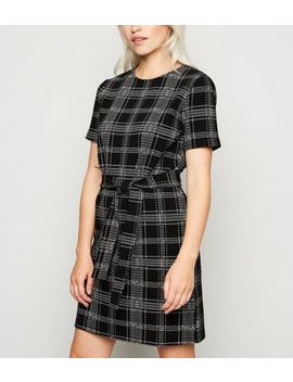 Petite Black Jersey Check Belted Tunic Dress by New Look