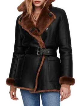 Gaban Reversible Leather & Shearling Lined Belted Coat by Maje