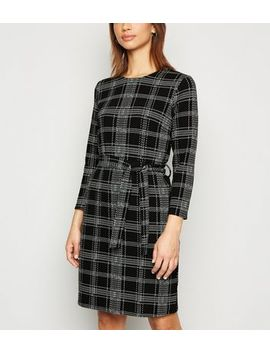 Black Check Belted Mini Tunic Dress by New Look