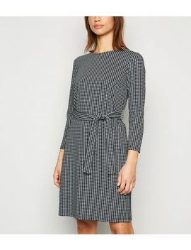 Black Houndstooth 3/4 Sleeve Tunic Dress by New Look