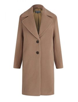 Camel Wool Mix Coat With Tortoiseshell Detail by Sosandar