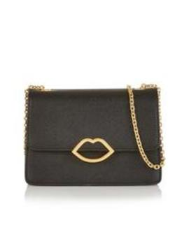PollyCut Out Lip Cross Body Bag   Black by Lulu Guinness