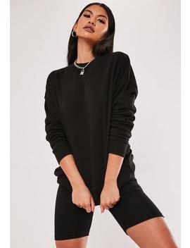 Black Sweatshirt And Cycling Shorts Co Ord Set by Missguided