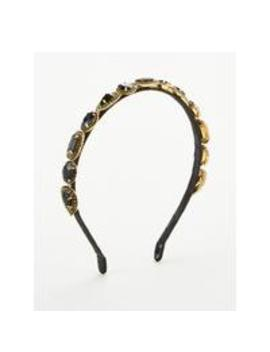 Thin Jewel EmbellishedHeadband   Black by V By Very