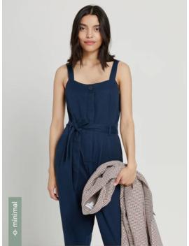 Cotton Tencel® Lyocell Belted Jumpsuit In Blue by Frank & Oak