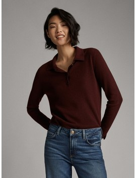 100% Cashmere Polo Sweater by Massimo Dutti