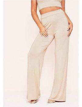Aleena Beige Wide Leg Jersey Trousers by Missy Empire