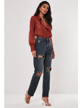 Dark Blue Wrath Slash Rip Highwaisted Straight Leg Jeans by Missguided