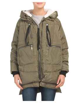 Juniors Long Puffer With Sherpa Lining by Tj Maxx