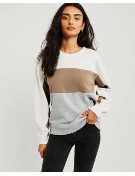 Long Sleeve Colorblock Crewneck Sweatshirt by Abercrombie & Fitch