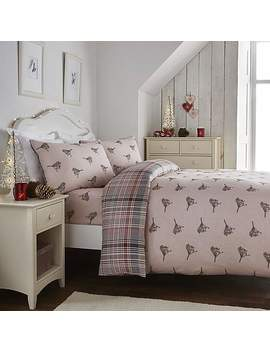 Fusion Pink Christmas Robin 100% Brushed Cotton Duvet Cover And Pillowcase Set by Dunelm