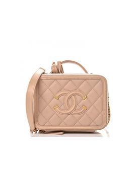 Chanel Cc Filigree Vanity Case Quilted Caviar Gold Tone Small Beige by Stock X