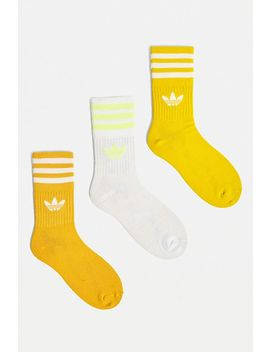 Adidas Yellow Mid Cut Socks 3 Pack by Adidas