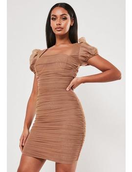 Taupe Mesh Ruched Puff Sleeve Mini Dress by Missguided