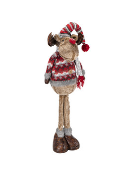 Standing Reindeer With Red Hat And Scarf by The Range