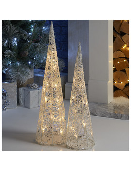 Set Of 2 Led White Sparkle Cones by The Range