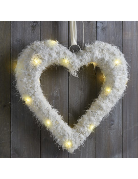 Led White Feather Effect Heart by The Range