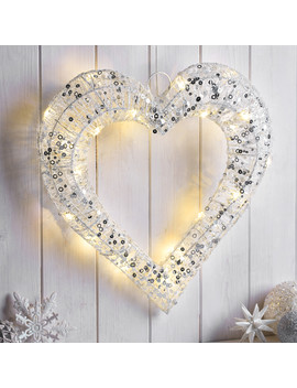 Led White And Silver Glitter Heart by The Range