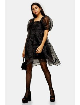 Black Embroidered Organza Tiered Dress by Topshop