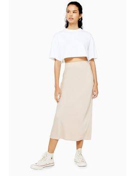 Matte Stone Satin Bias Midi Skirt by Topshop