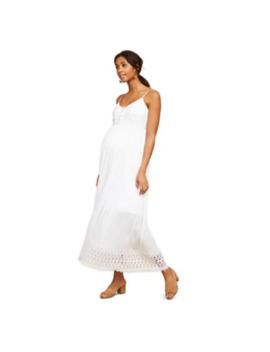 Motherhood Maternity® Crochet Detail Maxi Dress In White by Motherhood Maternity