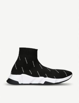 Logo Print Speed Stretch Knit Trainers by Balenciaga