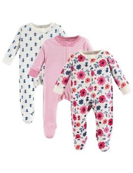 Touched By Nature 3 Pack Organic Cotton Garden Floral Sleep And Play Footies In Pink by Touched By Nature