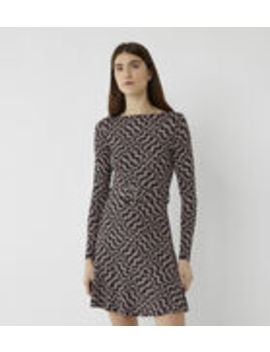 Diamond Print Slash Neck Dress by Warehouse