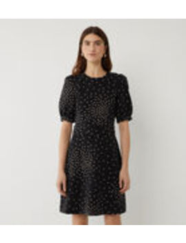 Spot Belted Crepe Dress by Warehouse