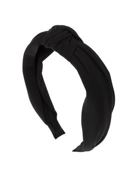 Ribbed Knotted Headband   Black by Claire's