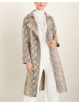 Snakeskin Print Faux Suede Trench Coat by Chico's