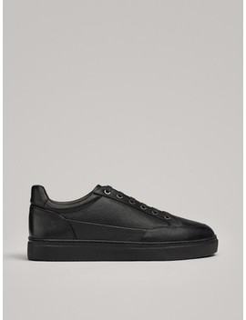 Black Leather Plimsolls With Fur Lining by Massimo Dutti