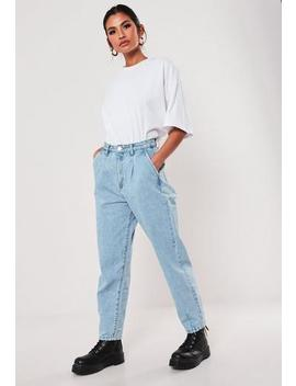 Light Blue Slouch Highwaisted Pleated Jeans by Missguided