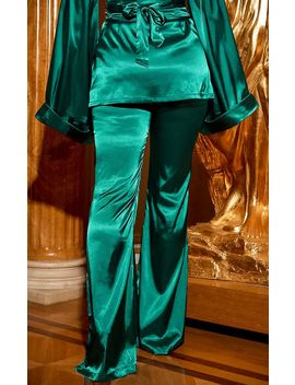 Emerald Green Satin Wide Leg Trouser by Prettylittlething