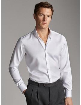 Tailored Fit Easy Iron Herringbone Shirt by Massimo Dutti