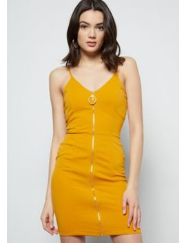 Mustard Crepe O Ring Zip Up Dress by Rue21