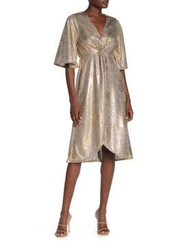 Wrap Front Metallic Jersey Dress by Superfoxx