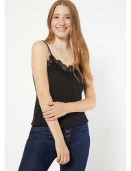 Black Eyelash Lace Tank Top by Rue21