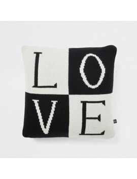 Black Knitted 'love' Cushion by River Island