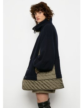 Ganni Woolen And Quilted Jacket In Sky Captain by The Frankie Shop
