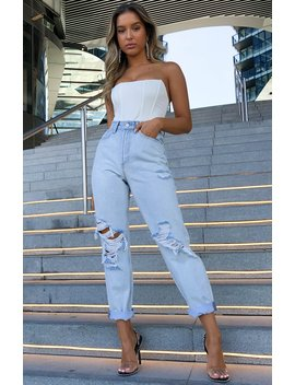 Piece Of Me Boyfriend Jeans Light Blue by White Fox