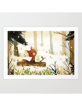 Little Fox And Winter Art Print by Society6