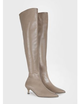 Thigh High Pointed Toe Leather Boots In Taupe by The Frankie Shop