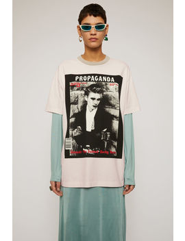 Magazine Print T Shirt Cold Beige by Acne Studios