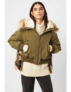 Colleen Camo Faux Fur Aviator Jacket by French Connection