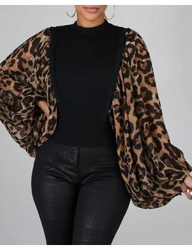 Leopard Print Patchwork Lantern Sleeve Blouse by Chic Me