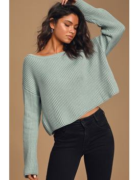 Here For It Light Blue Ribbed Knit Sweater by Lulu's