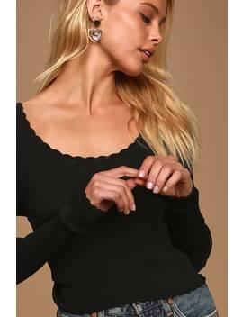 My Darling Black Ribbed Long Sleeve Top by Lulus