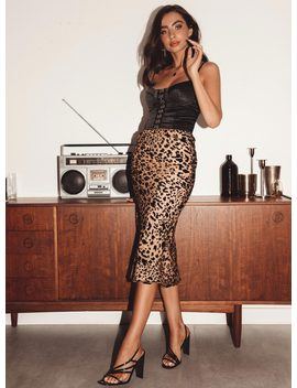 Miss Shiney Leopard Midi Skirt by Princess Polly