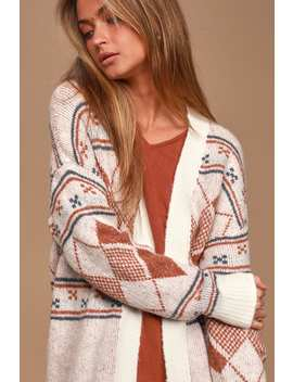 Anchorage Cream Print Long Cardigan Sweater by Lulu's
